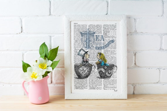 Summer Sale Alice in wonderland- Alice Tea with friends - Mad hatter tea party - Art print on dictionary page, Wall hanging ALW034