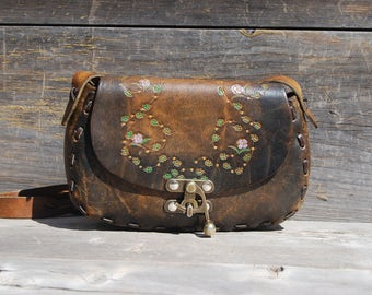 Tooled Brown Leather Purse with Painted Flowers and Braided Strap