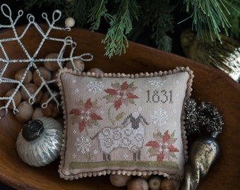 1831 Christmas cross stitch pattern by Plum Street Samplers at thecottageneedle.com Santa Claus sheep ewe