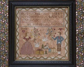 Be Kind Always cross stitch patternsby Heartstring Samplery Beth Twist sampler wedding anniversary just married