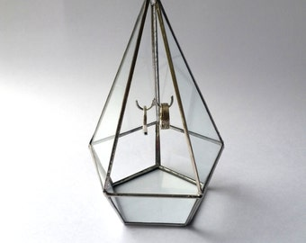 Diamond Ring Bearer Box With Hook /  Geometric Ring Box / Wedding Ring Holder / Glass Display Box / Jewelry Box