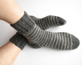 Striped Socks - EU Size 44-45 - Hand Knitted Woolen Socks - 100% Natural Wool - Warm Cozy Valentine for Him