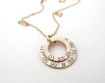 Personalized Gold Coordinates Necklace - Longitude Latitude Jewelry - GPS - Personalized Jewelry - Engraved - Wedding - Washer