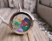 Personalized Locket Necklace Gemstone Rough Stones Mother's Day Gift for Her Jewellery Jewelry Her Mom Grandmother Wife Family Kids Present