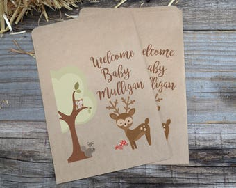 Woodland Creatures Buck Brown Kraft Bags, Owl Favor Bags, Forest Animals Paper Candy Bags, Deer Favor Bags, Baby Shower Woodland Creatures