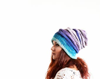 Turquoise blue purple winter slochy hat, slouchy beanie, wool beanie, slouchy beanie woman, slouch beanie, knit slouchy beanie, slouch toque