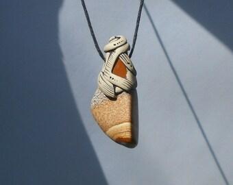Picture Jasper pendant with yellow Jasper / desert sands / give thanks / jasper necklace / SURRENDER STONE / khayanite / jewelry / pendant
