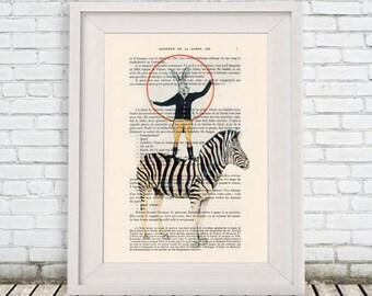 Burlesque Zebra Print, Zebra with rabbit, Original Artwork, Zebra Wall Art, Rabbit print, Nursery Artwork,black and white, whymsical print
