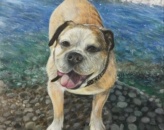 12x12 Custom English bulldog painting from photo on canvas hand painted pet portrait art