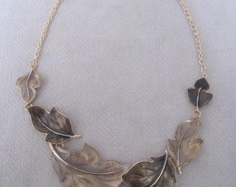 Soft Tones of Chocolate and Latte Six Leaf Collar Necklace