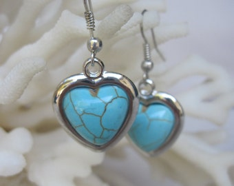 Dangling Silver Hearts with Howlite Turquoise Inset into the Hearts Earrings