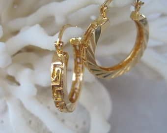 Blend of Carved Diagonal Lines and Greek Key Cut Out Gold Hoop Earrings