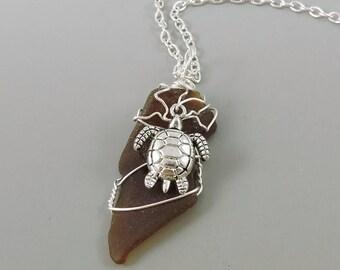 Wire Wrapped Sea Glass Necklace, Sea Turtle Necklace, Beach Jewelry, Ocean Jewelry, Seaglass Necklace