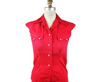1950s Levi's Shorthorn Red SS Western Shirt