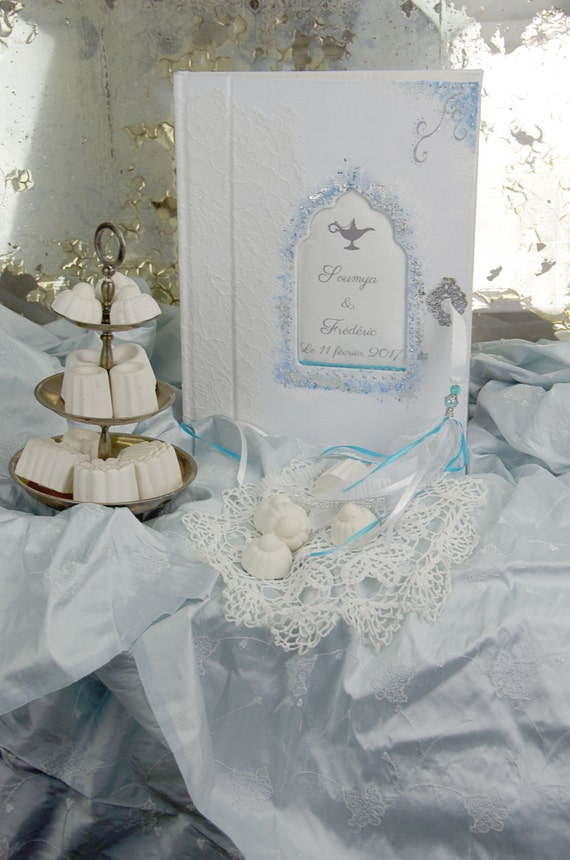 "Saint Valentin Guest book "" Mille et une nuits "" lace from Calais french lace  with your name Personalized"