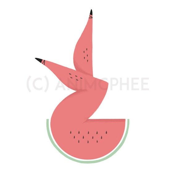 """Lady Watermelon - Fruit Print- 6""""x8"""" Print"""