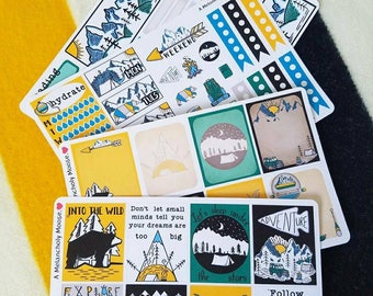 The Great Outdoors~ Hand Drawn Weekly Sticker Kit for Erin Condren Vertical Layout Planners