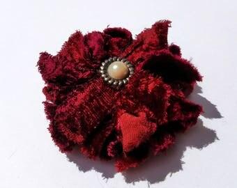 Recycled Vintage Red Velvet Flower Clip
