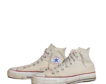 SALE 10 1/2 | Vintage Converse Shoes Hi Top Chuck Taylor All Star Athletic Shoes Made in the USA