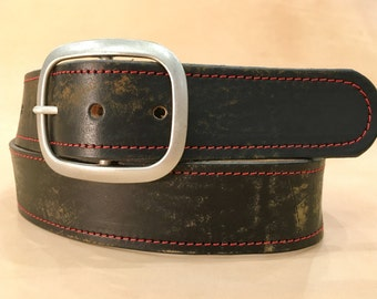 Vintage Aged Red Stitched Leather Belt    Handmade in USA
