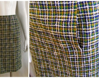 Vintage 1960's Skirt Fall Plaid Wool Pencil Skirt with Pockets Wiggle Skirt Small