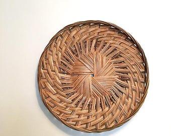 Woven Basket Wall Decor / Rattan Basket / Wall Hanging Basket / Bohemian Decor  / Jungalow Basket / Boho Wall Decor / Wicker Basket Tray