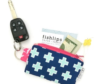 Key Chain for New Driver, Geometric Zipper Pouch, Plus Sign Wallet, Modern Graduation Gift for Her, Swiss Cross Fabric Bag, Small Navy Bag