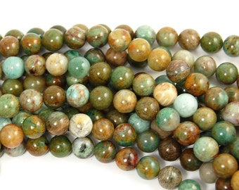 8mm Bloodstone Jasper Round Beads in Turquoise and Olive Green -15.5 inch strand