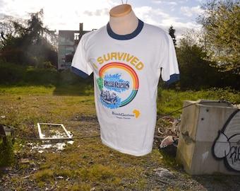 """Vintage 1980's """"I Survived Congo River Rapids"""" Busch Gardens Souvenir Tourist Ringer Shirt!!!"""