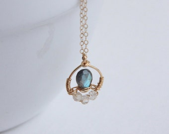 Labradorite and Topaz Necklace, Wire Wrapped Pendant, 14K Gold-filled Jewelry