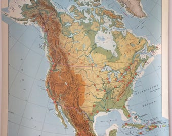 Vintage Dutch educational North America wall map