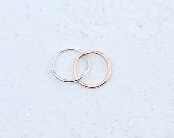 Rose Gold Filled & Silver Linked Circle Connectors
