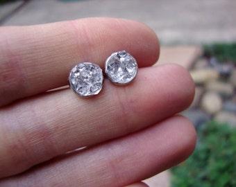 BLING BLING icy Herkimer Diamond 8mm stainless steel hypoallergenic earrings