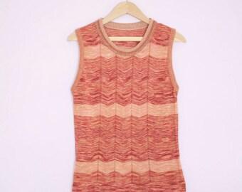 Vintage 1970's Rust + Peach Space Dye Stripe Knit Tank Top M/L