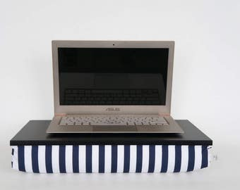 Laptop stand, Breakfast in Bed Tray - black with navy and white striped Pillow