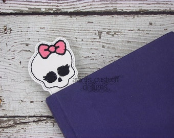 Girly Skull Bookmark - Pirate Bookmark - Monster High Bookmark - Skull Birthday Party Favor
