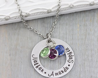 Personalized Jewelry - Hand Stamped Necklace - Birthstone Necklace - Personalized Name Necklace - Mom Jewelry