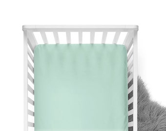 Fitted Crib Sheet - Spearmint- Solid Crib Sheet - Flat Crib Sheet - Crib Sheet - Toddler Sheet - Baby Sheet -Solid Mint Fitted Sheet-Bedding