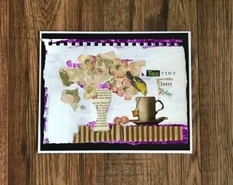 Collage Art, Tea Time, Collage Artist, 8x10 Collage, Original Art