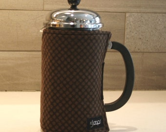 French Press Coffee Cozy Brown Flannel Print French Press Coffee Cover