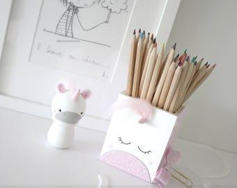 Wooden Pencil Pot - Animals, Children, Pen Pot, Pencil Pot, Desk Storage, Tidy Tub, Unicorn, Fox, Cow, Deer, Panda