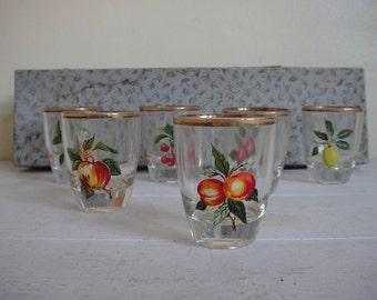 Vintage Fruit Pattern Shot Glasses, Barware, Mid Century, Kitsch.