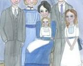 For Vanessa, Custom Family Portrait,( 9x12 ) hand painted watercolor portrait