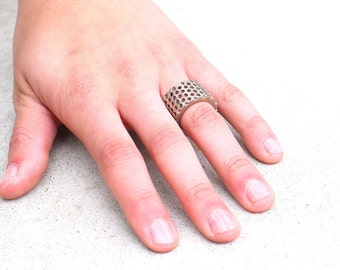 industrial stainless steel geometric ring - Perforated Honeycomb Ring. modern 3D printed jewelry, Closeout Item