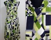 RETRO Vintage 1960s Green Blue Geometric Pussy Bow Mod Dress UK 10 FR 38 / Chic pleat / Ascot Cravat bow