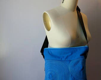 small zippered bag • washable • lightweight • durable • one of a kind • work. gym. play. travel. vegan • cross body bag • blue