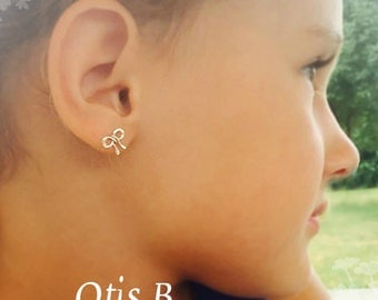 Bow post earrings, Flower Girl earrings, Be my junior bridesmaid, bridal jewelry, bow jewelry, tying the knot, tie the knot, Otis B