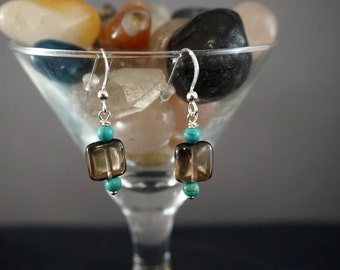 Square Smoky Quartz with Turquoise Earrings