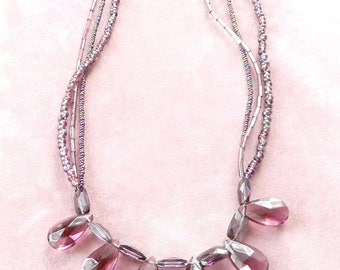 Purple Beaded Necklace with Sterling Silver Closure Mint Condition Retro