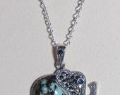 """Sterling Silver Elephant Necklace w Genuine Marcasite Real Turquoise on 17"""" Sterling Silver Chain"""